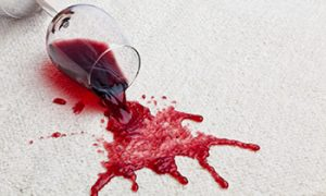 Red wine spot on carpet